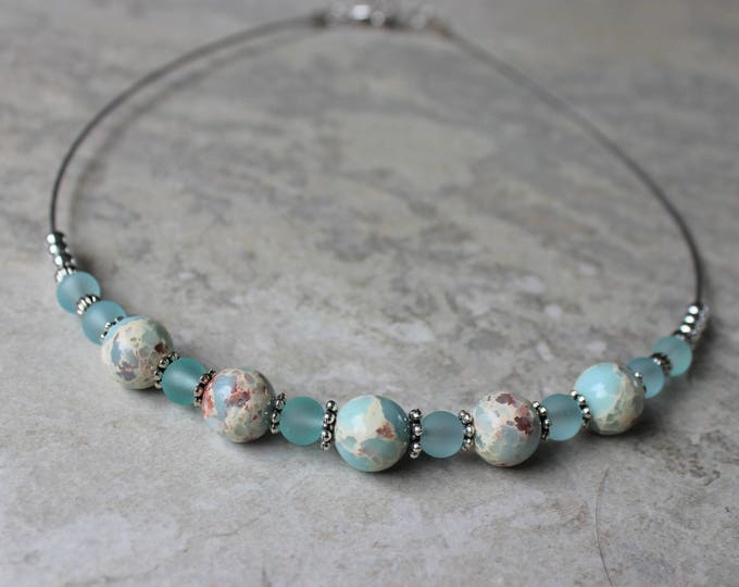 Aqua Blue Necklace, Turquoise Necklace, Beaded Necklaces for Women, Beaded Choker Necklace, Necklace and Earring Set, Gifts for Women