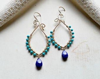 Turquoise Lapis Hoop Earrings, Paisley Hoops, Bohemian Turquoise Hoops, Marquise Hoop Earrings, Lapis Dangle Earrings