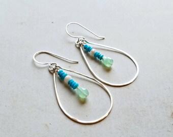 Turquoise Teardrop Earrings, Bright Green Hoop Earrings, Sleeping Beauty Turquoise Dangle:  Ready to Ship