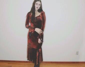 90s brown velvet long sleeve paisley corset dress size small