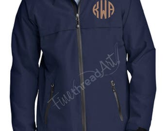 Monogram Unisex or Men's Rain Coat Jacket Slicker Zip Up with Hood Plus Size available Ladies Also