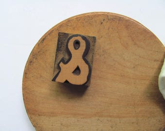 Vintage Letterpress Ampersand Symbol Sign And Stamp Punctuation Printer Block Wood Block Ampersand Writer Librarian Sign Office Decor Art