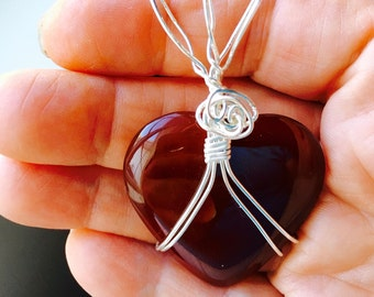 Red Carnelian Heart Pendant, Red and Silver Pendant, Red Necklace, Carnelian Necklace
