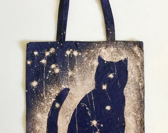 Space Cat Tote Bag - Cotton Canvas Tote - Galaxy Cat Bag - Cat Tote - Hand Dyed Tote - Girlfriend Gift - Cat lover Gift