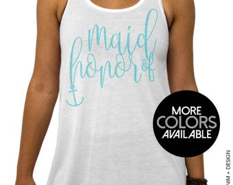 Nautical Maid of Honor Tank. Nautical Beach Wedding. Bridal Party, White Flowy Tank Top. White. Gold. Rose Gold. Aqua Ink, Women's Clothing