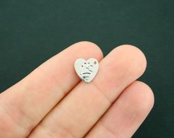 2 Paw Print Heart Charms Silver Plated Copper 2 Sided - SC7208 NEW2