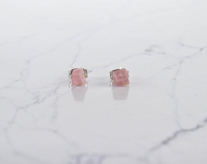 Pink Tourmaline Raw Crystal Stud Earrings