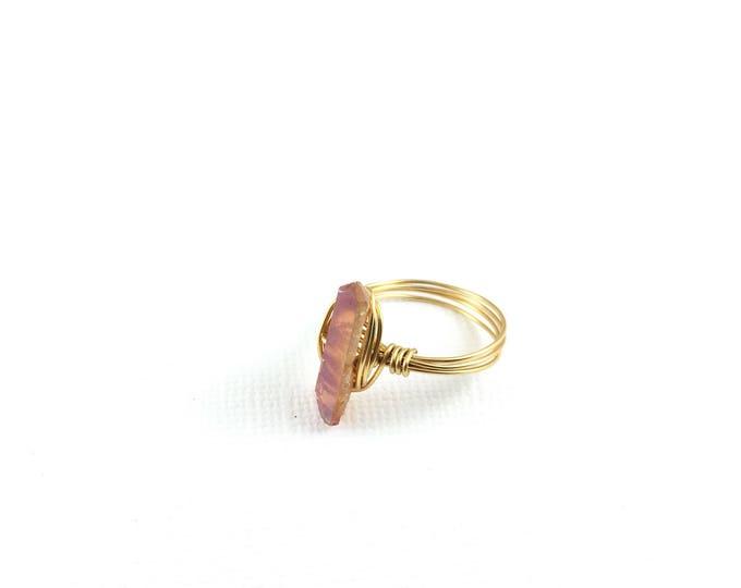 Tangerine Aura Quartz Crystal Point Wire Ring
