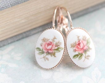 Pink Rose Earrings Rose Gold Jewelry Vintage Style  Lever Back Leverback French Shabby Country Romantic Gift For Her Girlfriend Wife Mom