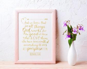Christian Wall Art Gold Foil ~ God Works for the Good ~ Romans 8:28 ~ Hand-Lettered Design