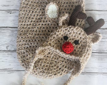 Reindeer Hat and Cocoon - Baby Reindeer Photo Prop - Reindeer Cocoon - Christmas Reindeer Photo  - Reindeer Swaddler - by JoJo's Bootique