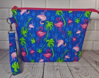 Knitting Project Bag, Pink Flamingo, Crochet Project Bag, Sock Knitting Bag, Zipper Project Bag, Craft Bag, Yarn Project Bag, Accessory Bag