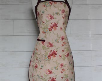 Waterproof Womens Apron Plus Size Apron in Light Pink with Burgundy Flowers