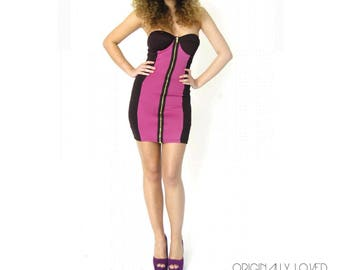 Strapless Pink/Purple & Black Scuba Mock Front Zipper Dress - Size 6 (USA)