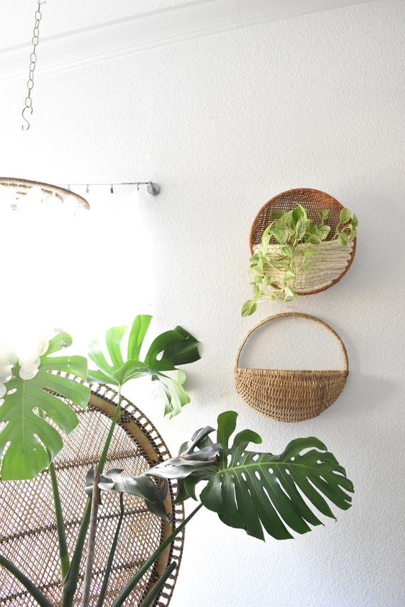 large handmade vintage woven rattan basket wall planter / wall pocket