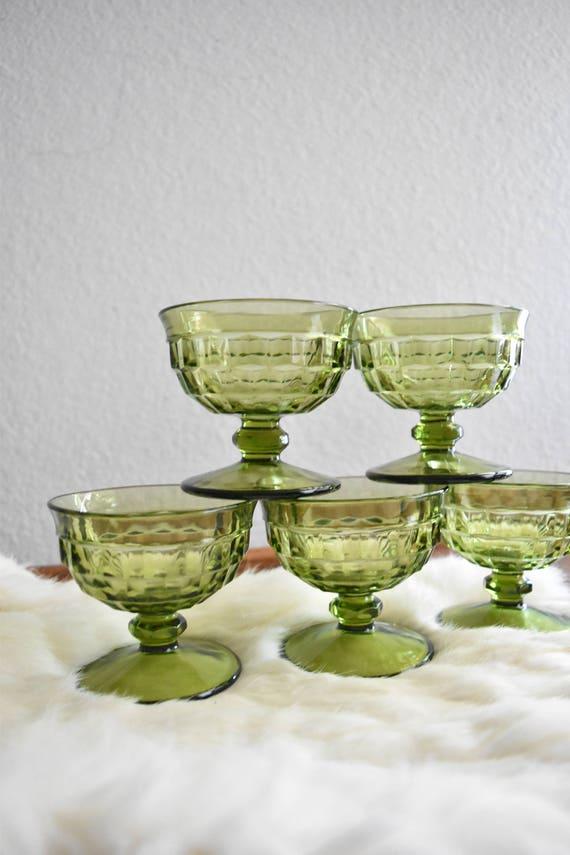 matching set of green glass champagne wine glass goblets / depression glass set