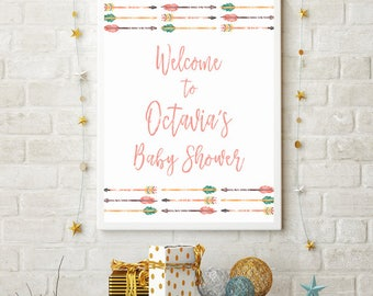 Tribal Baby Shower Welcome Sign, Boho Welcome Sign, Baby Shower Signage, Green, Coral, Personalized Welcome Sign, 810