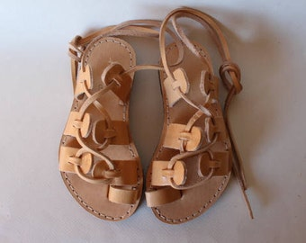 DAY SALE ! Leather lace up sandals, for kids.Greek Sandals, for kids