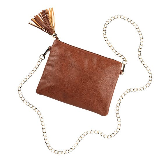 Tasseled Purse with Chain Strap in Camel