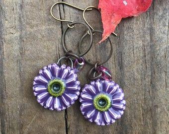 Purple Ceramic Flower Charm Antique Brass Earrings Bohemian Earthy Jewelry Rustic Earrings