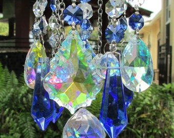 Crystal Prism Wind Chime - Indoor or Outdoor - Handmade - Blue Crystal Garden Art - Don't Be Blue