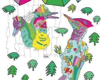 rainbow woodpeckers illustration art print