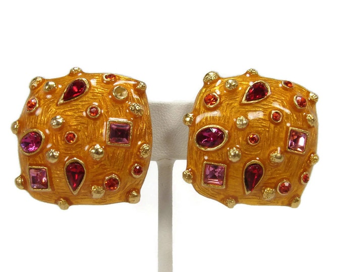 Vintage Signed CRAFT Rhinestone & Enamel Clip On Earrings