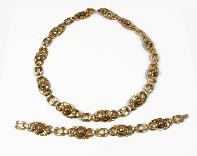 1940s  ENGEL BROS 10K Gold Filled Necklace Bracelet Set