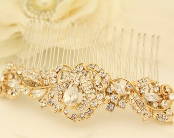 Bridal Hair Comb Gold,Leaf Bridal Hairpiece,Floral Hair Comb,Floral Hairpiece,Gold Comb,Wedding hair comb,Bridal hair accessories,Bridesmaid