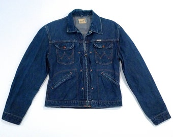 Wrangler Jean Jacket Pleated / Tucked Zip front Vintage Size 40 Sanforized Denim Jacket Made in USA 50s 1960s Conmatic Zipper Plattermatter
