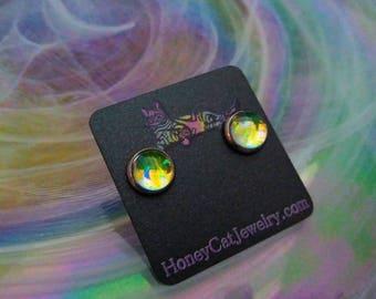 """Glass Opalite Earrings, Yellow Color-Shift Glass Opalite Stainless Steel Stud Earrings 10mm / 0.39"""""""