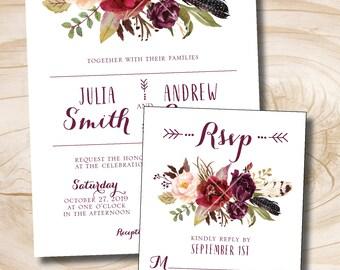 Fall Watercolor Floral Wedding Invitation Response Card  Invitation Suite, Fall Wedding Invitations - Digital or Printed