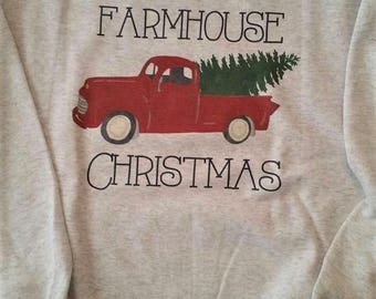 Farmhouse Christmas sweatshirt, Red truck sweatshirt