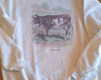 Vintage cow, Cow sweatshirt, Cow art print, Cow farm