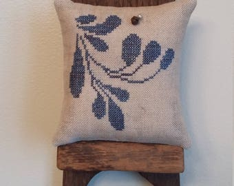 Primitive cross stitch sample cupboard folk art tuck/pinkeep small pillow Priscilla's Pocket Stoneware II design #3