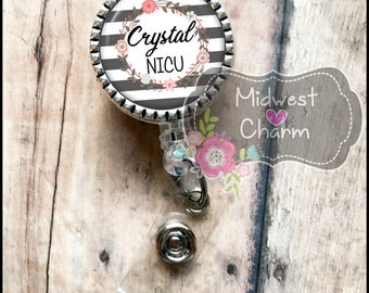 grey stripes on 1 inch silver bezel..Personalized retractable badge reel with pinch clip..nurse..teacher..lpn..rn..md..id holder..lanyard
