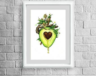 Avocado watercolor download decor printable digital print