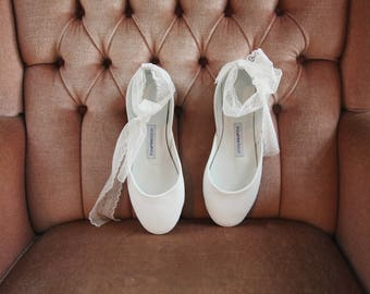 The French Lace Wedding Ballet Flats | Wedding Shoes in White | Lace up Shoes | Bridal Ballet Flats in White | French Lace | Ready to ship