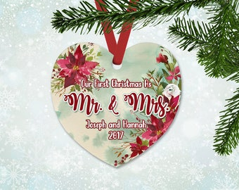 Personalized Just Married Christmas Ornament, Heart Ornament, Christmas 2017, Keepsake Ornament, Christmas Flowers Ornament (037)