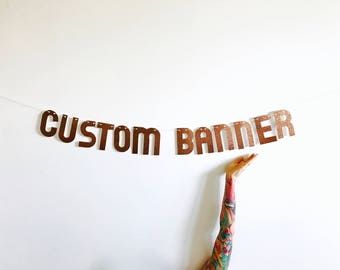 Custom Banner - Copper Custom Glitter Party Banner - Personalized Garland Sign