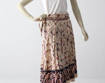 boho wrap skirt, vintage hippie wrap around block print skirt or dress