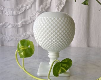 Vintage Westmoreland Ivy Ball Milk Glass Hobnail Vase Pedestal Vase Classic Round Vase 1950s