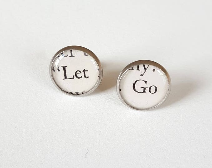 Let Go Earrings - Stainless Steel - Positivity Earrings - Bookish Earrings - Vintage Book Pages Paper Earrings - Librarian Earrings