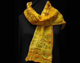 Nuno-Felted Scarf / Yellow Orange Lattice / Wool Silk / OOAK