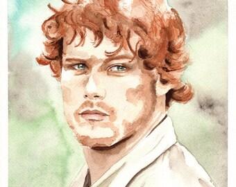 Jamie Fraser. Outlander. Original Watercolor. 9x12.