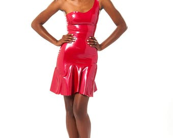 Size small sample Ashley one shoulder metallic red latex dress