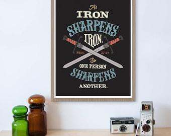Proverbs 27, Iron Sharpens Iron, Scripture Print, Bible Verse Print, Christian Gifts, Sword, Encouragement Gift, Christian Wall Art