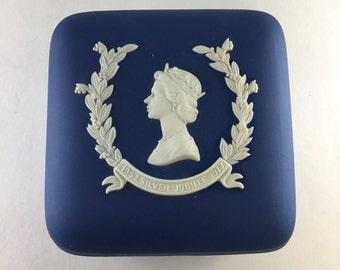 Wedgwood Queen Elizabeth II Silver Jubilee Blue Jasperware Trinket Box