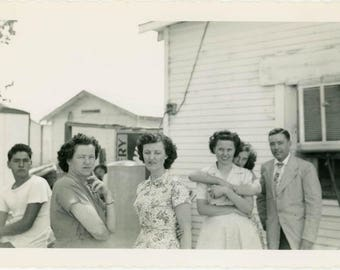 "Vintage Photo ""The Andersons"" Vernacular Americana Family Women Woman Men Man Hug Affectionate Farmhouse Found Old Photograph Picture - 49"