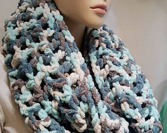 Teal Turquoise Gray and White Crochet Infinity Scarf , Chunky Scarf, Crochet Scarf, Plush Scarf, Oversized Handmade Scarf, Bulky Scarf,